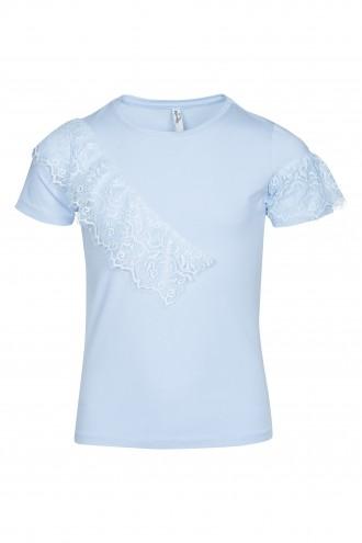 T-shirt z koronkową falbanką
