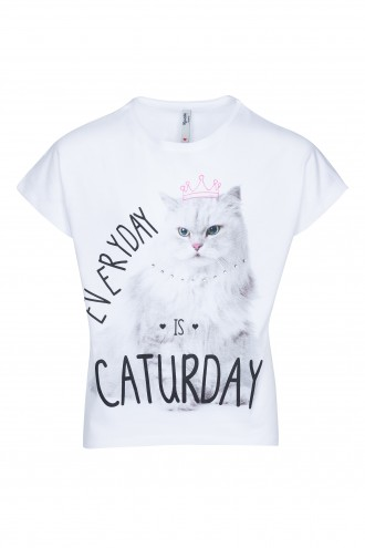 T-shirt z nadrukiem CATurday