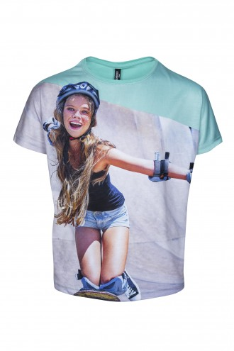 T-shirt dwumateriałowy z nadrukiem