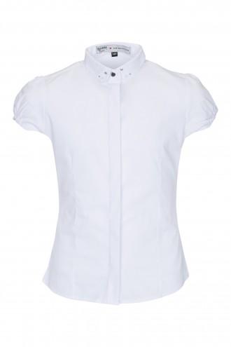 Koszula z ozdobnym kołnierzykiem i krótkim rękawem