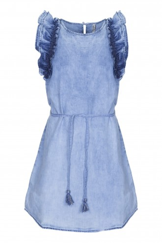 Sukienka dżinsowa z falbankami