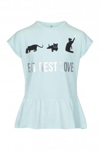 T-shirt dziewczęcy z baskinką Cat life