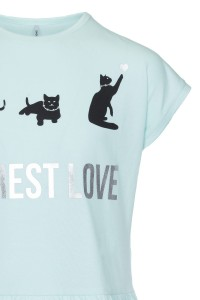 T-shirt z baskinką Cat life