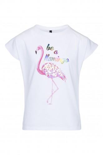 T-shirt dziewczęcy z nadrukiem Flamingo