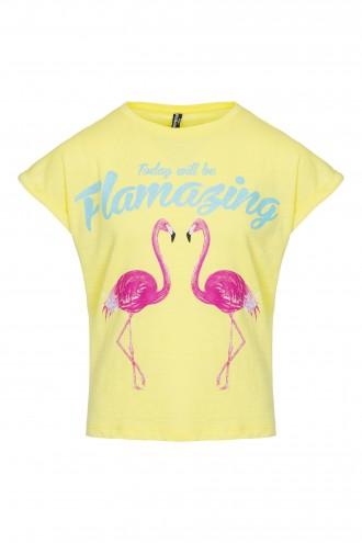 T-shirt dziewczęcy z nadrukiem Flamazing Yellow