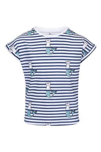 T-shirt dziewczęcy z nadrukiem Purring Mermaids