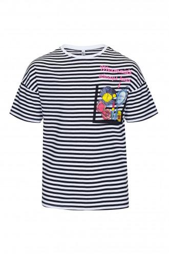 T-shirt dziewczęcy w paski z nadrukiem