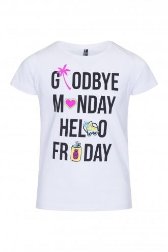 T-shirt dziewczęcy z nadrukiem Hello Friday