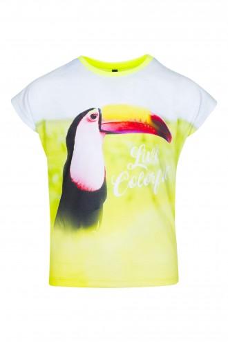 T-shirt dziewczęcy z nadrukiem Tukan