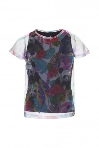 T-shirt dziewczęcy z podkoszulką Hot Tropics