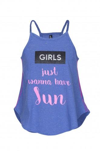 T-shirt dziewczęcy na ramiączkach z nadrukiem Sun