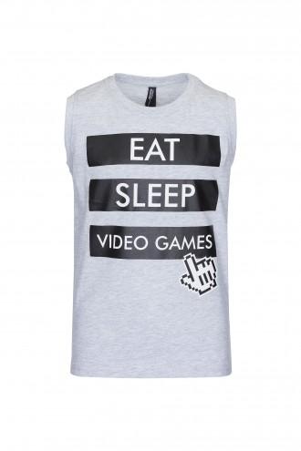 T-shirt chłopięcy bez rękawów Eat Sleep Grey