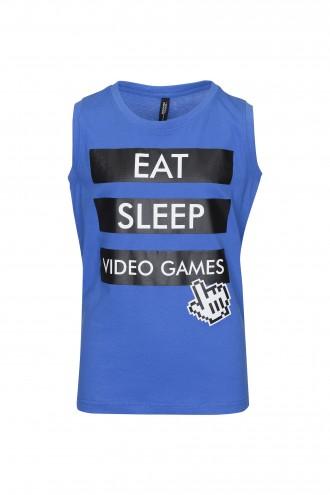 T-shirt chłopięcy bez rękawów Eat Sleep Blue