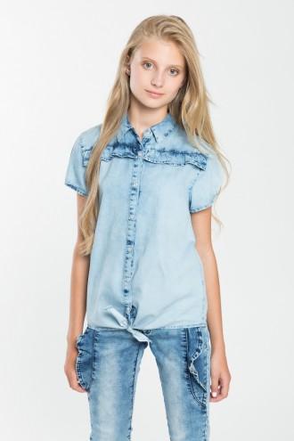 Dziewczęca koszulka dżinsowa wiązana w pasie