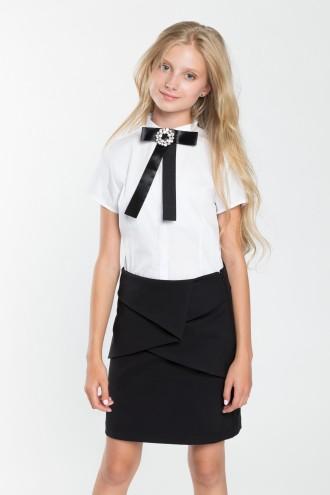 Dziewczęca koszula z krótkim rękawem oraz kokardą