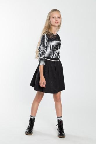Dziewczęca spódniczka rozkloszowana z ozdobnym paskiem