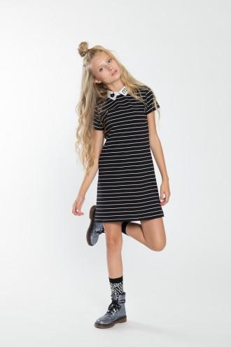 Dziewczęca sukienka w paski z krótkim rękawem Meow