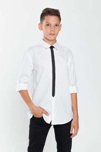 Koszula chłopięca z czarnym elementem tkaninowym