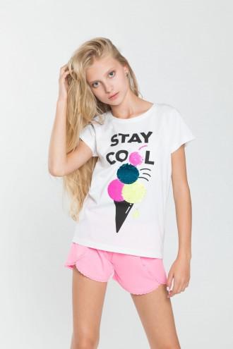 Dziewczęcy T-shirt z odwracalnymi cekinami Stay Cool