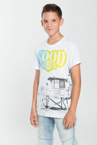 Chłopięcy T-shirt z nadrukiem Good Vibes
