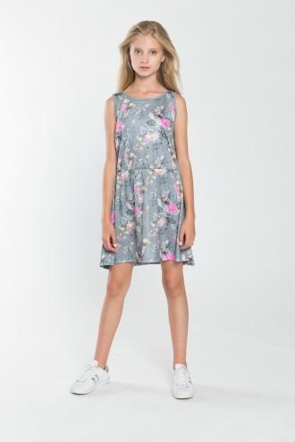 Dziewczęca sukienka z nadrukiem w kwiaty Flower Power