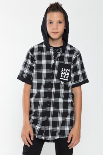 Koszula chłopięca z krótkim rękawem w kratę SK8