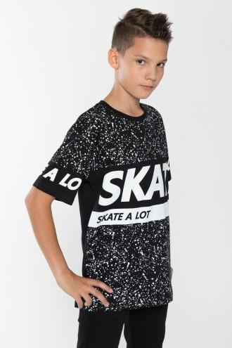 Czarny T-shirt chłopięcy z nadrukiem Skate a Lot