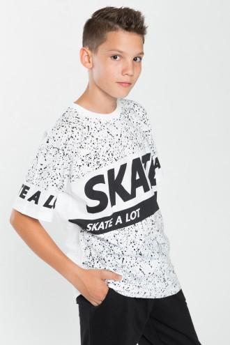 Biały T-shirt chłopięcy z nadrukiem Skate