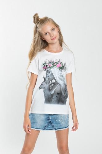 Dziewczęcy T-shirt z nadrukiem Floral Crown