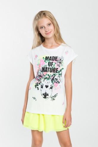 Dziewczęcy T-shirt z nadrukiem Made of Nature