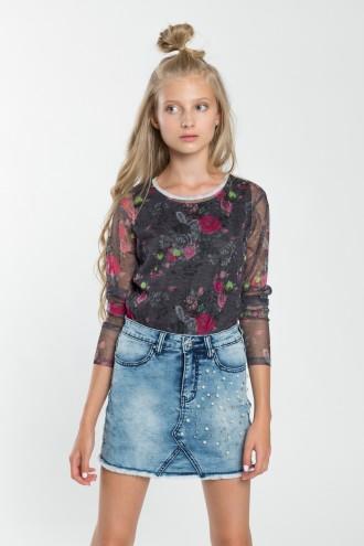 Dziewczęca bluzka dwuwarstwowa z długim rękawem Flowers