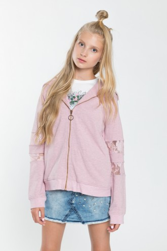 Dziewczęca bluza z kapturem z elementami koronkowymi