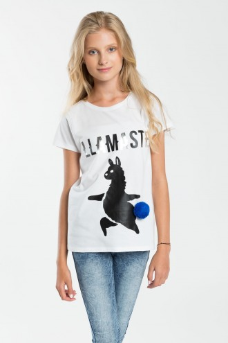 Dziewczęcy T-shirt z nadrukiem i pomponem Llamaste