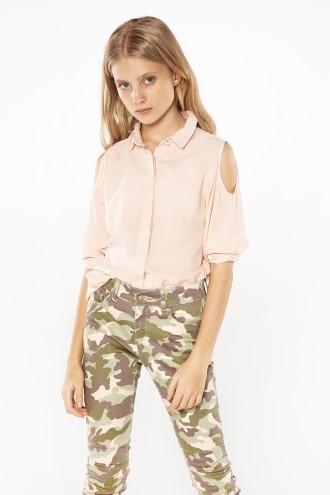 Dziewczęca koszula cold shoulders stay pink