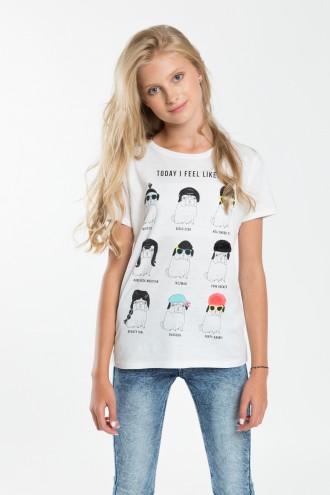 Dziewczęcy T-shirt z nadrukiem Feel Like White