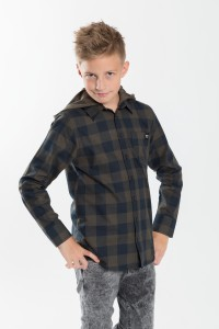 Chłopięca koszula w kratę z kapturem Greenery