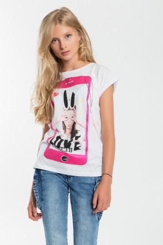 Dziewczęcy T-shirt z nadrukiem Love Omg