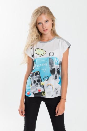 Dziewczęcy T-shirt z nadrukiem Woof