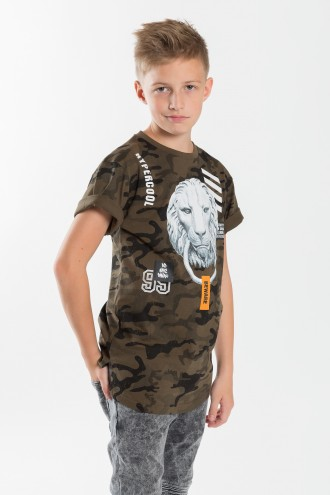 Chłopięcy T-shirt moro z nadrukiem King