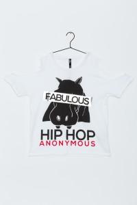 Dziewczęcy T-shirt cold shoulders z nadrukiem Hip Hop Anonymous