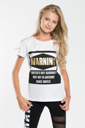 Dziewczęcy T-shirt z nadrukiem Warning