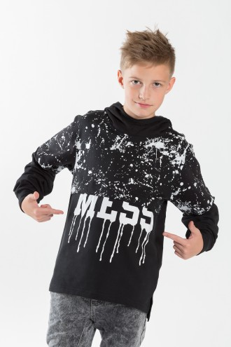 Chłopięca bluza z kapturem i nadrukiem MESS
