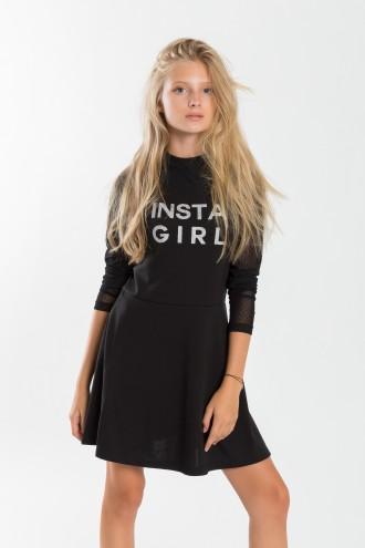 Dziewczęca sukienka z długimi rękawami z siatki Insta Girl