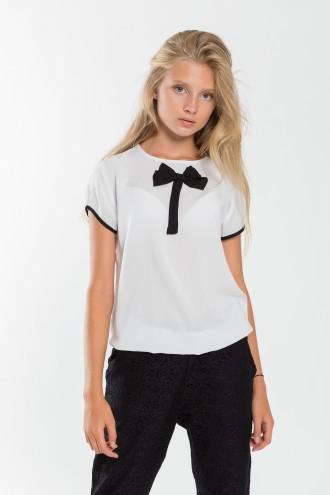 Dziewczęcy T-shirt z kokardką XOXO
