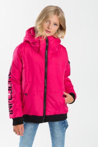 Dziewczęca kurtka przejściowa z kapturem Fluo Influencer