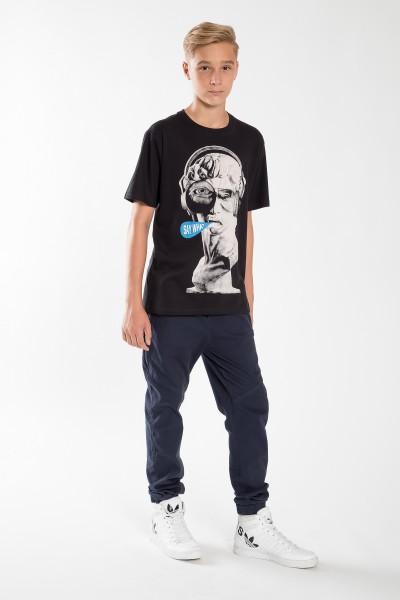 Chłopięcy T-shirt z nadrukiem Say What Black
