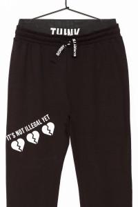 Dziewczęce spodnie dresowe z nadrukiem Love and Think