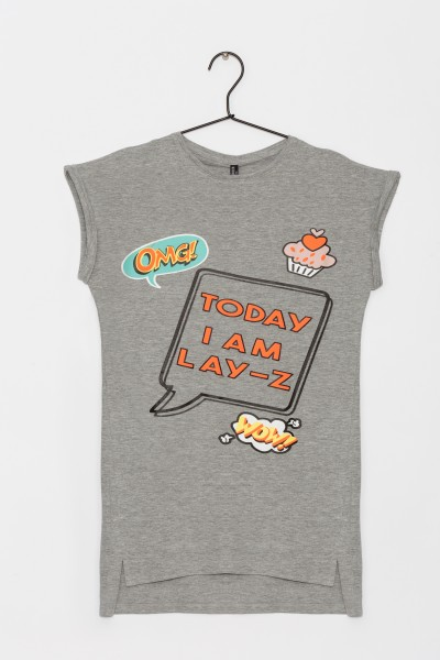 Dziewczęcy T-shirt z nadrukiem Lazy