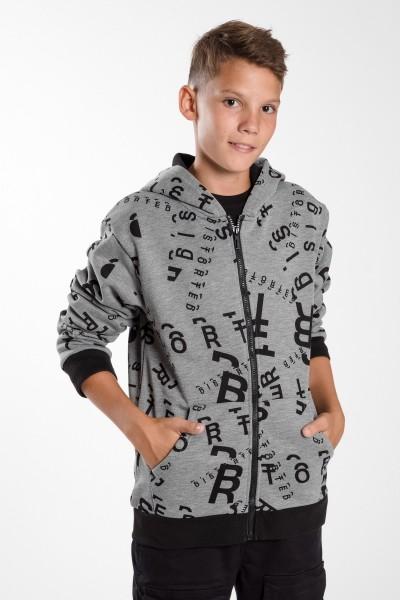 Chłopięca bluza dresowa z  kapturem zapinana na zamek Words