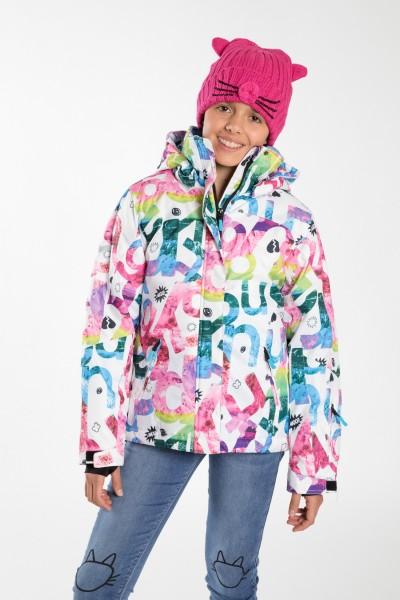 Dziewczęca kurtka outdoorowa z kapturem Colors